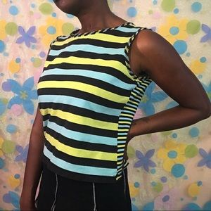 Blue and green striped tank top medium vintage